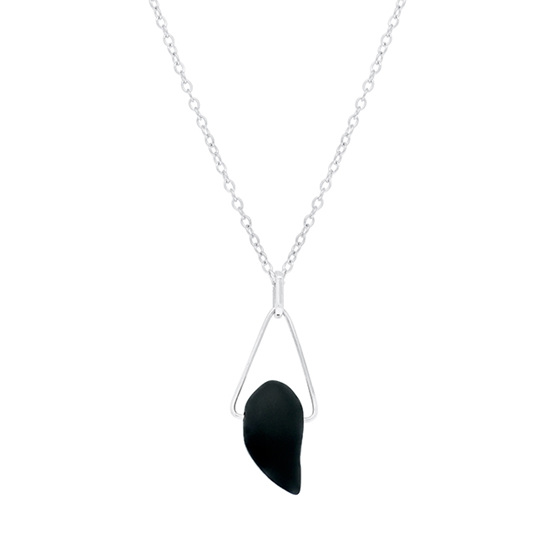 Onyx Sterling Silver Triangle Pendant