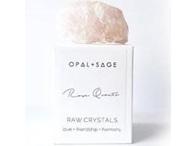 Opal+Sage Rose Quartz raw boxed Crystal