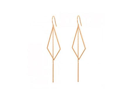 Open diamond shaped drop earrings