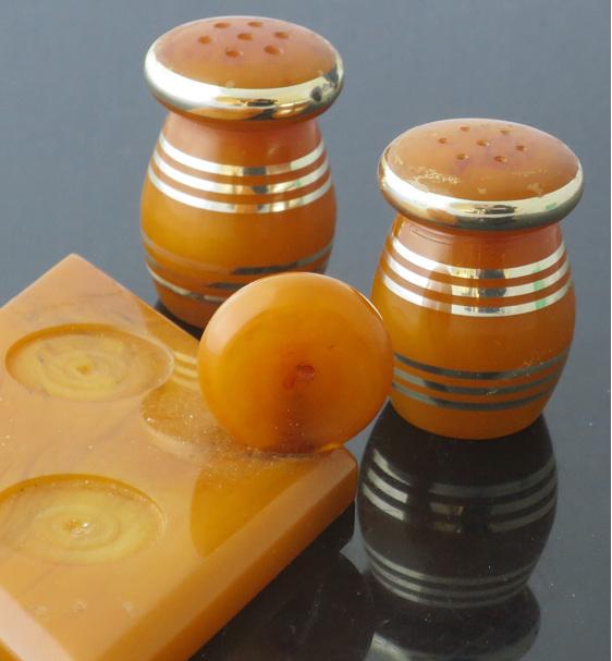 Orange bakelite salt and pepper