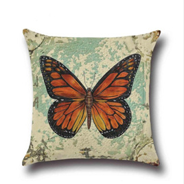 ORANGE & BLACK BUTTERFLY CUSHION COVER