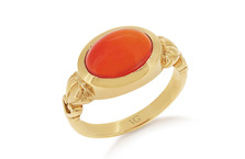 Orange Cabochon Fire Opal Ring