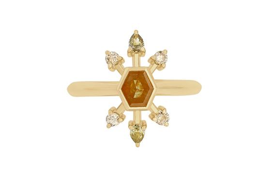 Orange diamond ring cape diamonds grey green pear diamonds 18ct yellow gold