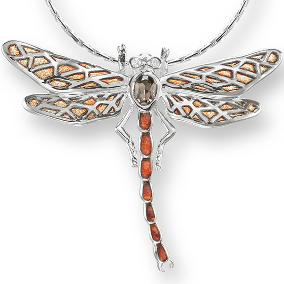 Orange Enamel Diamond and Smokey Topaz Dragonfly Necklace