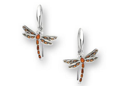 Orange Enamel Dragonfly Earrings