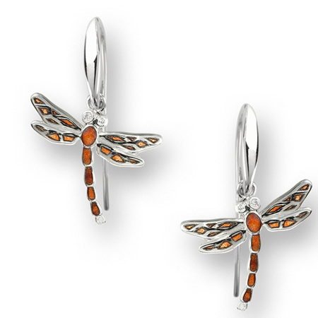 Orange Enamel Dragonfly Earrings