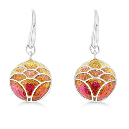 Orange Enamel Lotus Flower Drop Earrings