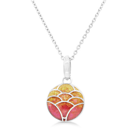 Orange Enamel Lotus Flower Necklace