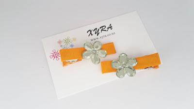 Orange Flower Hair Clips