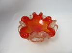 Orange Murano Art Glass Bowl with Silver Foil Inclusions