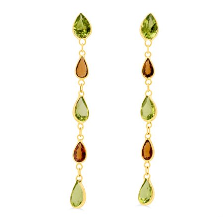 Orange Sapphire and Peridot Drop Stud Earrings