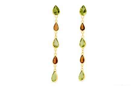 Orange Sapphire and Peridot Drop Stud Earrings
