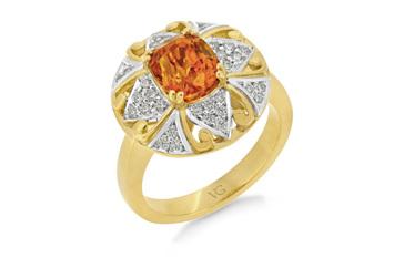 Orange Sapphire Diamond Cluster Ring