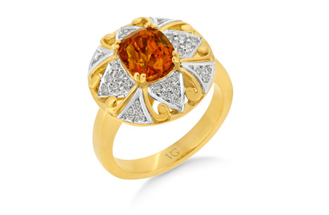 Orange Sapphire Diamond Cluster Ring