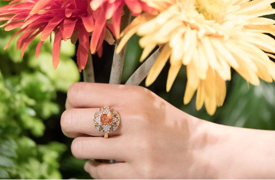 Orange Sapphire, sapphire ring, sapphire cluster ring. new zealand jeweller