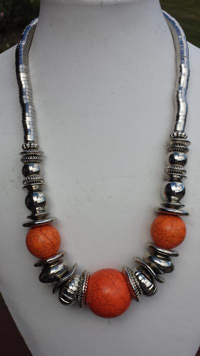 Orange Tibetan Necklace -