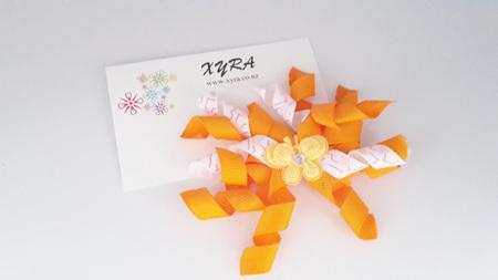 Orange & White Korker Hair Bow