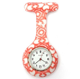 Orange & White Pattern Nurse Watch