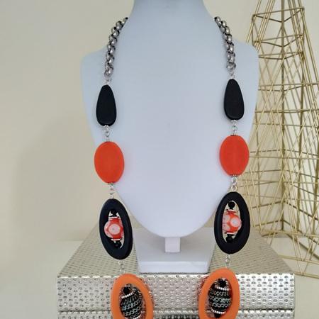 Orange Window Necklace - black orange bubble beads