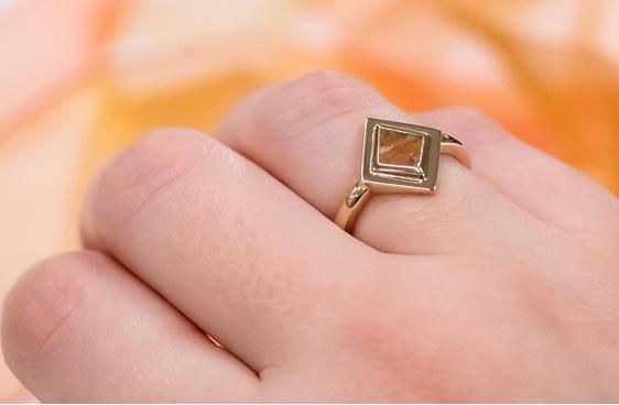organic natural kite shaped diamond slice in 18ct yellow gold dress ring