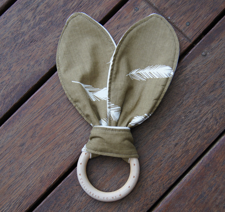 Organic Teether, 'Feathers, Olive'