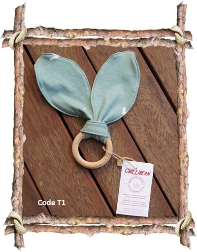 Organic Teether, 'Flight Mint' GOTS Organic Cotton Knit (code T1)