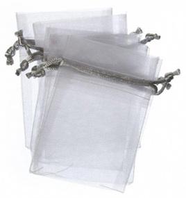 Organza bags x 10 white/silver