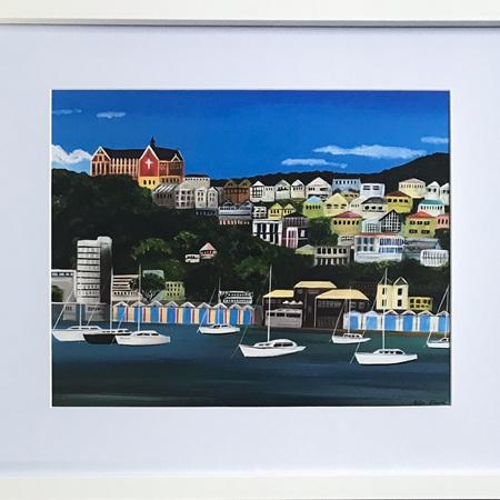 """Oriental Bay Boatsheds - 11 x 14"""" Frame"""