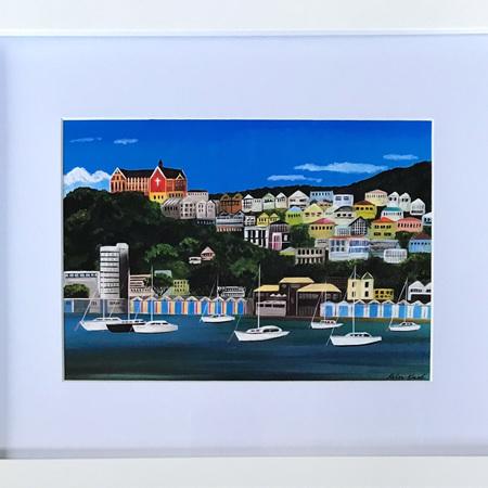 Oriental Bay Boatsheds Print in Medium Frame