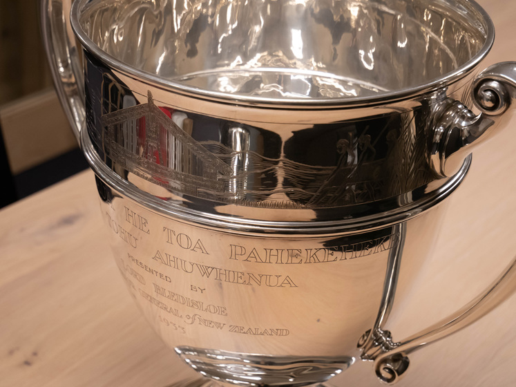 Original 1930s Ahuwhenua Trophy Close Up on Engraving