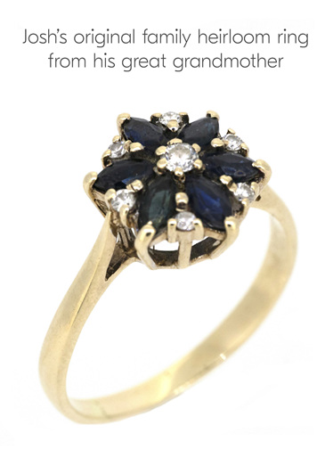Original family heirloom diamond and sapphire yellow gold engagement ring