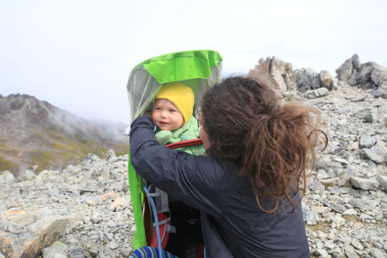osprey pack hiking angelus hut with a baby windy day