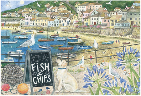 Otter House  1000 Piece Jigsaw Puzzle: Fish & Chips