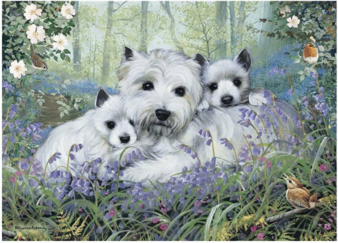 Otter House 1000 Piece Jigsaw Puzzle: Westies In The Wood