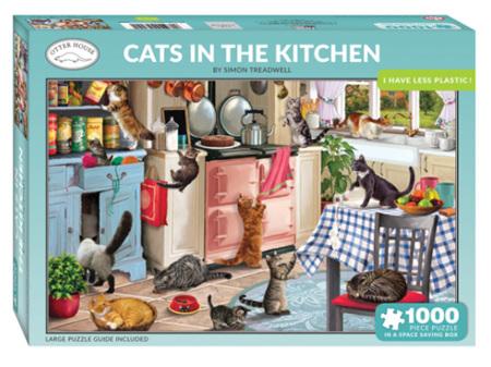 Otter House Cats Kitchen 1000 Piece Puzzle