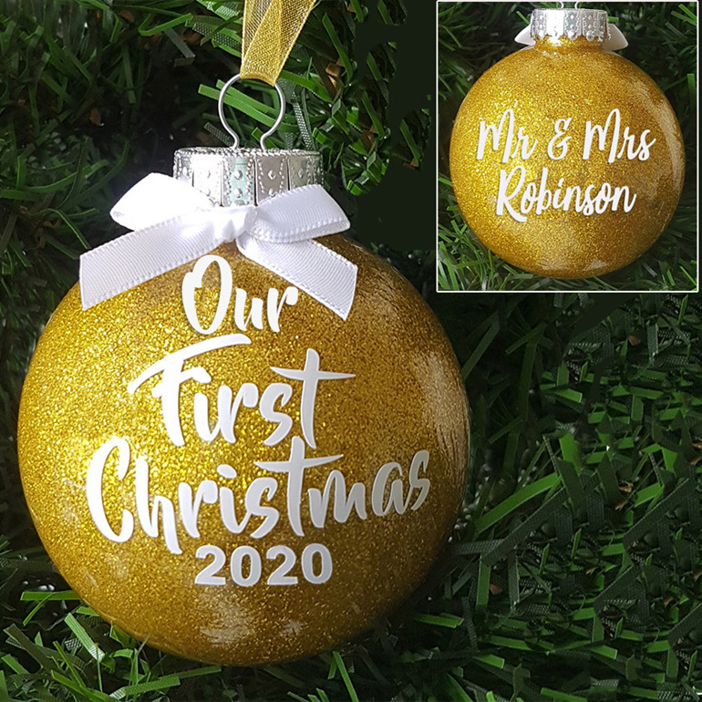 Our First Christmas personalised wedding glitter ornament