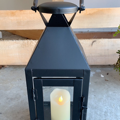 Outdoor Black Metal Candle Lanterns - Small