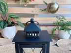 Outdoor Black Metal Criss Cross Candle Lanterns - Small or Medium
