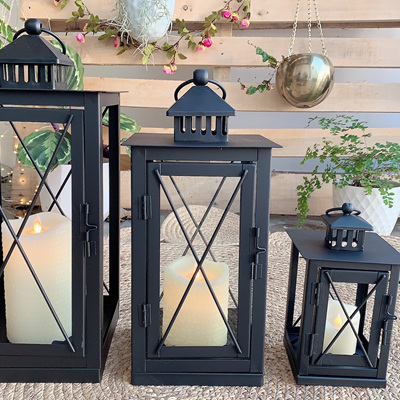 Outdoor Black Metal Criss Cross Candle Lanterns - Small, Medium or Large