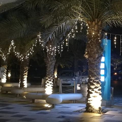 Outdoor White Rubber Cable 6m Icicle Lights - Warm White