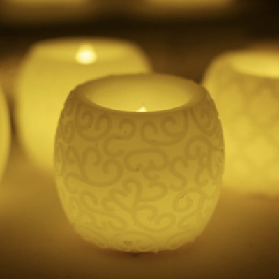 Oval Carved Floral Pattern LED Candle Lights - Warm White