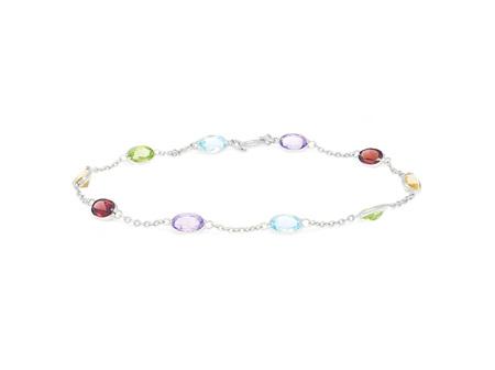 Oval Coloured Gemstone White Gold Bracelet