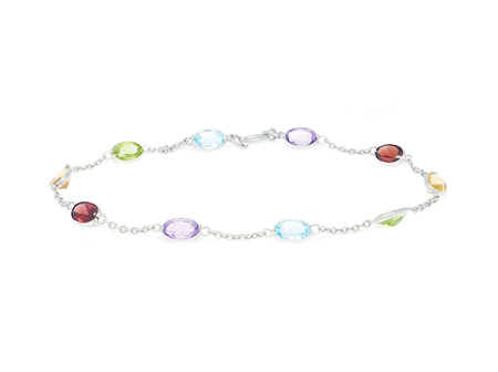 Oval Coloured Gemstone White Gold Bracelet