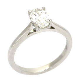 Oval Diamond Solitaire Engagement Ring in Platinum