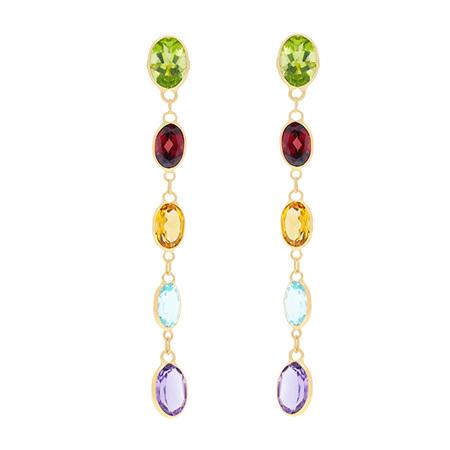Oval Multi-Gemstone Drop Stud Earrings