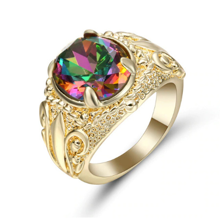 Oval Rainbow Gemstone with Gold Band Ring - US8 (B284)