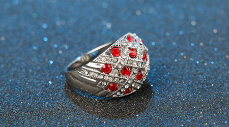 Oval Red & Crystal Ring  Size 10