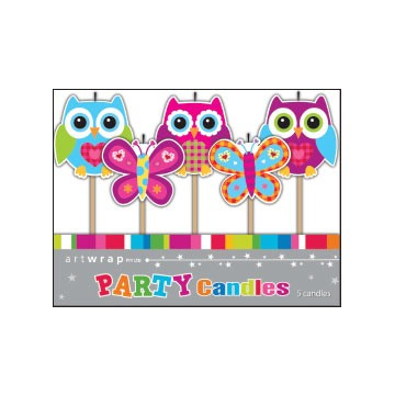 Owl Party candles - pack of 5