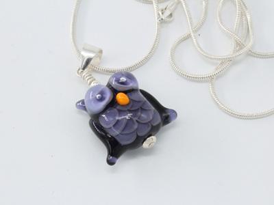 Owl pendant - Purple