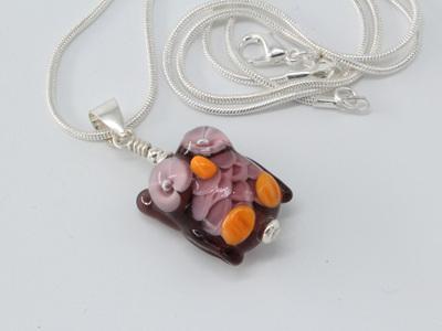 Owl pendant - violet
